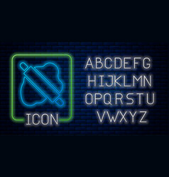 Glowing neon rolling pin on dough icon isolated vector