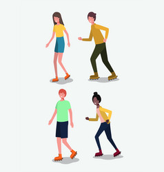 group of people in roller skates vector image