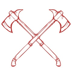 Hand Drawn Crossed Battle Axes isolated on white vector image