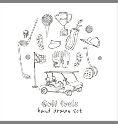 hand drawn set with golf tools vintage vector image
