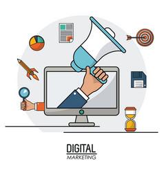hand holding speaker digital marketing business vector image