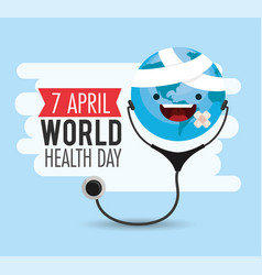 Happy earth planet with stethoscope to health day vector