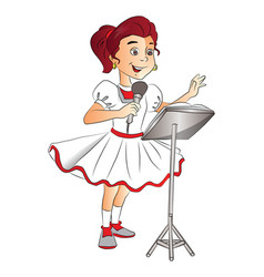 happy girl singing on mike vector image