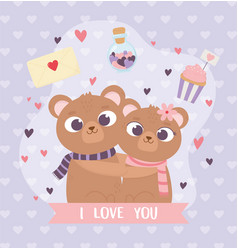 Happy valentines day cute couple embraced bears vector