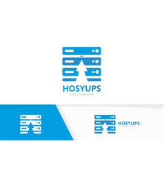 Host and arrow up logo combination server vector