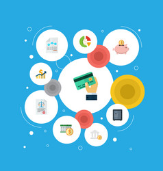 Icons flat style profit asset accumulation and vector