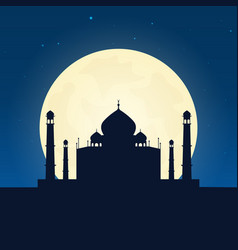 india taj mahal silhouette of attraction travel vector image