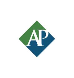 Initial ap rhombus logo design vector