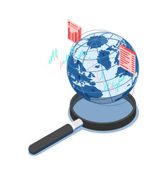 Isometric world with financial chart on vector