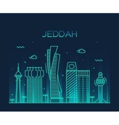 Jeddah skyline linear style vector