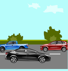 landscape street with cars vector image