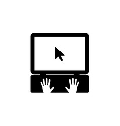 laptop icon with hand black on white background vector image