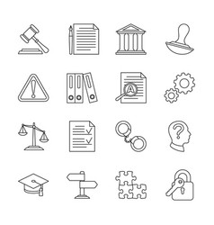 Legal compliance and regulation line icons vector