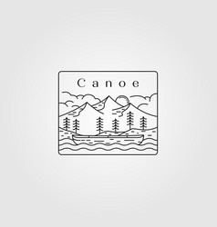 line art canoe landscape design vector image