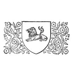 Lion sheild vintage engraving vector