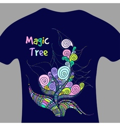 Magic tree - print for t-shirt vector