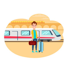 man with baggage wait for train at railway station vector image