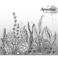 Monochrome hand drawn with aquarium algae c vector