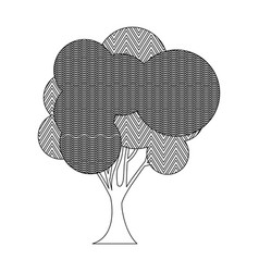Monochrome silhouette tree plant forest with wave vector