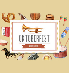 Oktoberfest frame design with entertainment beer vector