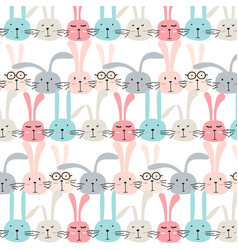 pattern with cute bunnies vector image