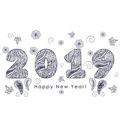 Patterned figures 2019 happy new year vector
