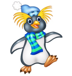 Penguin is standing use a shawl and hat cap vector image