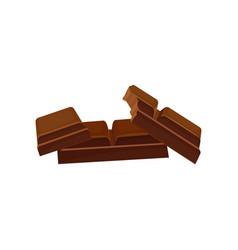 pieces of dark chocolate delicious dessert vector image