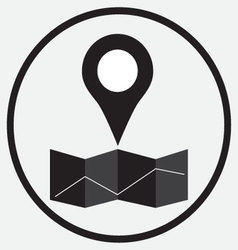 Pin location map monochrome vector image