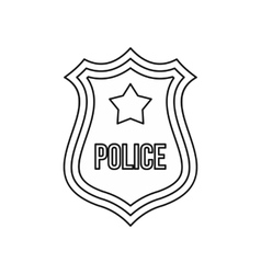 Police shield badge icon outline style vector image