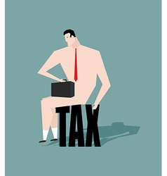 Sad businessman sitting on tax depressive Naked vector