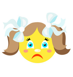 Sad smiley girl icons on a white background vector