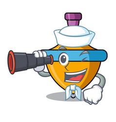 Sailor with binocular spinning top mascot cartoon vector