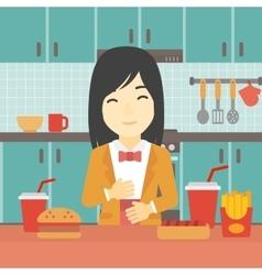 Satisfied woman eating fast food vector image