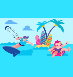 sea vacation with fun kite in ocean vector image