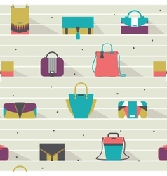 Seamless pattern with fashion bags in various vector