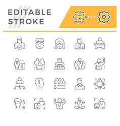 Set line icons business people vector