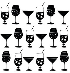 set of hand drawn alcoholic drinks cocktails vector image