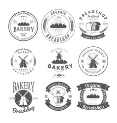 set of nine bakery label and badges design vector image