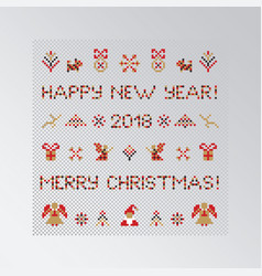 set of pixel christmas symbols vector image