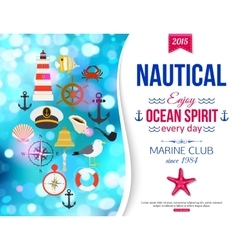 Shining summer nautical typographical background vector image