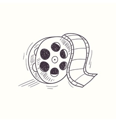Sketched film reel desktop icon vector image