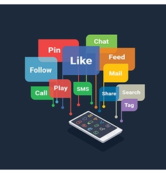 Smartphone with social media concept vector