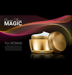 Splendid cosmetic product poster golden bottle vector