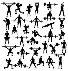 Sport silhouette of bodybuilding and weightlifting vector