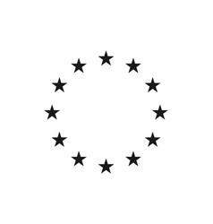Star icons in circle black european logos vector