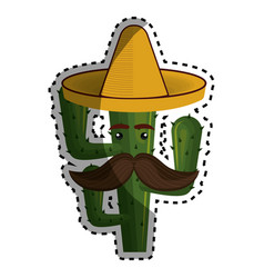 Sticker animated cartoon cactus with mexican hat vector