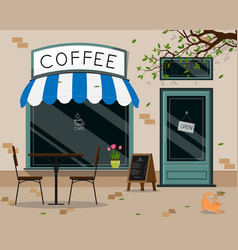 Street cafe outdoor terrace flat design vector