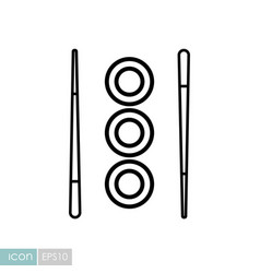 Sushi roll with chopsticks icon vector