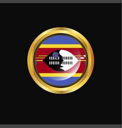 Swaziland flag golden button vector